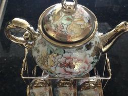 13 Piece Tea Sets Tea Pot w 6 Cups + Saucers + Rack Multi 3