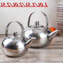 1L-2.5L Stainless Steel Teapot Silver Coffee Strainer Kettle