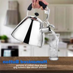 2.7QT/2.55L Tea Kettle Stainless Steel Whistling Tea Pot Sil