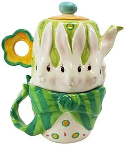Cosmos 20871 Gifts Bunny Rabbit Ceramic Teapot, 6-5/8-Inch,