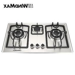 28in. 3 Burners Built-In Stove Top Gas Cooktop Kitchen Easy