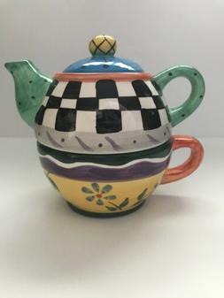 3-Piece Teapot - Teapot/Lid/Cup Set- Ceramic - Beautiful Bol