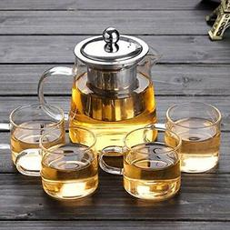 32oz/43oz Glass Teapot with Infuser + 4oz Tea Cup Set of 4 T