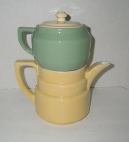 3pc Yellow & Green Coorsite Pottery Porcelain Teapot Coffee