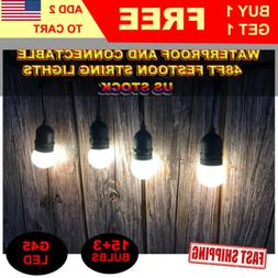 48ft Commercial Grade Outdoor Patio LED String Light Shatter