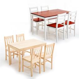 5 PCS Pine Wood Dining Table Set w/4 Chairs Kitchen Dining R