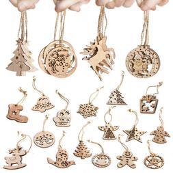 6 PC Christmas Snowflakes Wooden Pendants Xmas Tree Ornament
