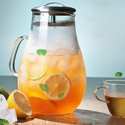 68 oz Large Glass Water Pitcher with Removable Infuser Lid a