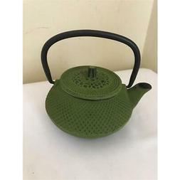 Creative Home 73474 10 oz Kyusu Cast Iron Tea Pot - Green