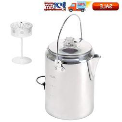 9 Cup Aluminum Percolator Camping Rustproof Cookware Coffee