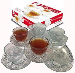 Cup & Saucer Set Glass Tea Coffee Cup Glass Saucer 12 Piece
