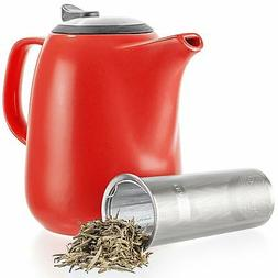 Tealyra - Daze Ceramic Large Teapot Red - 47-ounce  - With S