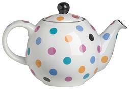 White Multicolor Polka Dot Ceramic Globe 6 Cup Teapot by Lon