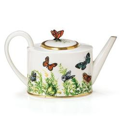 Wings Of Grace Porcelain Butterfly Teapot With Gold Trim For