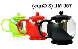 Glass Tea Pot/Coffee Pot with Removable Stainless Steel Filt