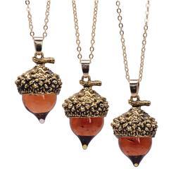 Amber Glaze Glass Acorn Long Sweater Necklace, Fall Autumn S