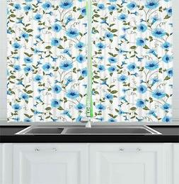 "Aqua Kitchen Curtains 2 Panel Set Window Drapes 55"" X 39"" Am"