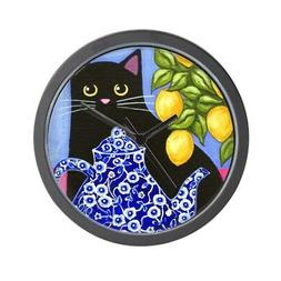 CafePress - Black CAT Blue Calico Teapot & Lemons - Wall Clo