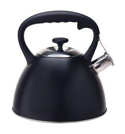 Black Stainless Steel Whistling Tea Kettle Stove Top Teapot