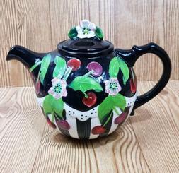 BLUE SKY Black White Cherry Teapot Ceramic Jeanette McCall