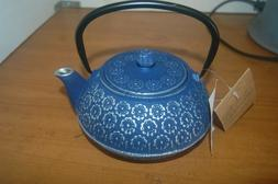 Blue and Silver Cast Iron Teapot New With Tag