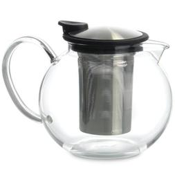 FORLIFE Bola Glass Teapot with Basket Infuser, Black Graphit