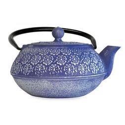 Brand New Primula Blue Floral 34 oz. Cast Iron Teapot