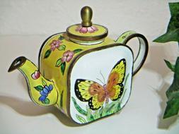 KELVIN CHEN Butterfly ENAMELED TEAPOT Soft Yellow PINK FLOWE