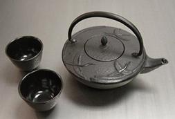 Happy Sales Happy Sales Cast Iron Tea Pot Tea Set Crane Blac