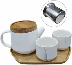 Ceramic Teapot Set with 2 Matching Cups & Wooden Dripping Tr
