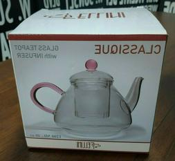 Fellini Classique Glass Teapot with Infuser | Pink Colored |