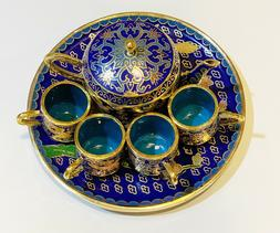 Cloisonne Enamel Vintage Chinese Teapot Tea  Cup Brass Minia