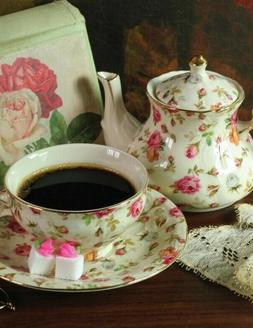 Victorian Trading Co Chintz Roses Tea for One Set with Teapo