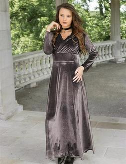 Victorian Trading Co Pewter V Neck Velvet Long Dress Gown XL