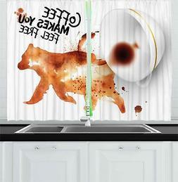 "Coffee Art Kitchen Curtains 2 Panel Set Window Drapes 55"" X"
