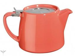 CORAL FOR LIFE TEAPOT & INFUSER, BAMBOO TRAY & CREAMER -OPTI