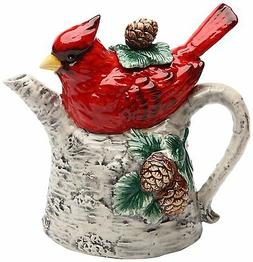 Teapot,  Cosmos 10709 Gifts Cardinal on Birch Tree Ceramic T