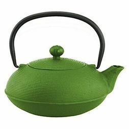 Creative Home 73477 20 oz Kyusu Cast Iron Tea Pot - Green
