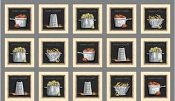 Cuisine Cookware and Veggie Patch Grey 24x44 Cotton Fabric P