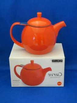 FORLIFE CURVE Paprika Red Orange Teapot w/ Stainless Steel I