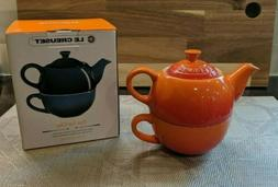 LE CREUSET FLAME ORANGE TEA FOR ONE- TEAPOT AND CUP-10oz-NEW