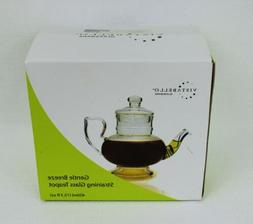 VISTABELLO Gentle Breeze Straining Glass Teapot With Lid New