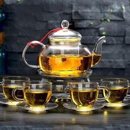 CoreLife Glass Tea Set 4 Borosilicate Glass Cups and Saucers