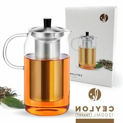 Glass Teapot Kettle with Infuser Set - Stovetop Warmer Tea P