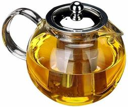 Glass Teapot w/Removable Infuser, Stovetop Safe Kettle, Bloo