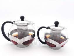 Uniware Glass Teapot With Stainless Steel Infuser, 750 ml/12