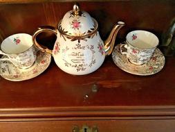 GOLDEN WEDDING ANNIVERSARY ELIZABETHAN TEAPOT & CUPS