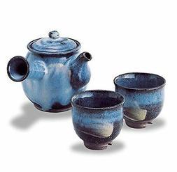 Hagi Yaki Ware Seigan Blue Hagidaruma Teapot & Tea Cups Set