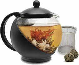 Half Moon Teapot with Removable Infuser, Blooming and Loose