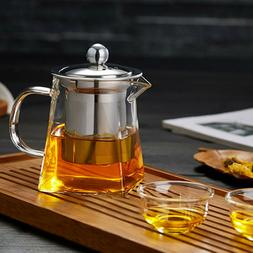 Heat Resistant Glass Teapot with Strainer Filter Infuser Cof